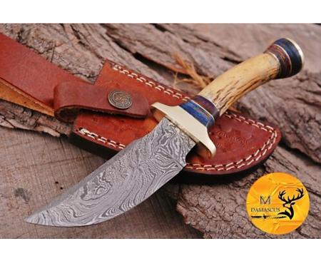 DAMASCUS STEEL SKINNER HUNTING KNIFE - AJ 1111