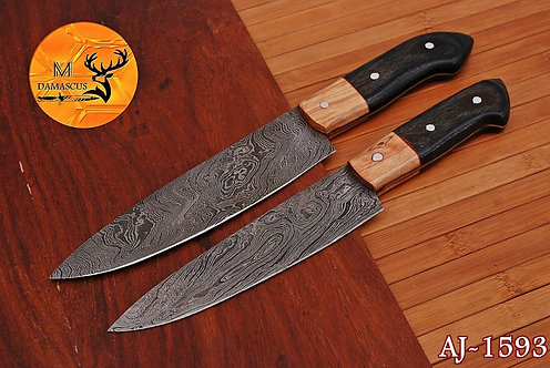 DAMASCUS STEEL CHEF KITCHEN KNIVES SET- AJ 1593
