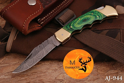 DAMASCUS STEEL FOLDING POCKET KNIFE- AJ 944