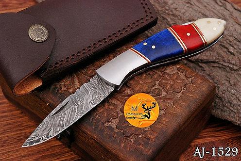 DAMASCUS STEEL FOLDING POCKET KNIFE- AJ 1529