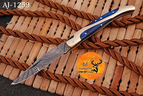 DAMASCUS STEEL FOLDING POCKET KNIFE- AJ 1259