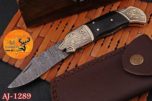 DAMASCUS STEEL FOLDING POCKET KNIFE- AJ 1289