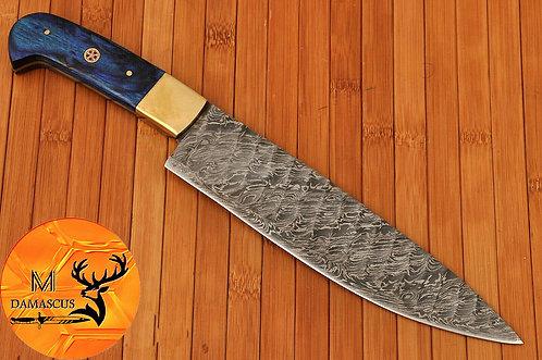 DAMASCUS STEEL ENGRAVE BLADE CHEF KNIFE- AJ 447
