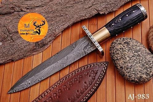 DAMASCUS STEEL BOOT DAGGER KNIFE AJ 983