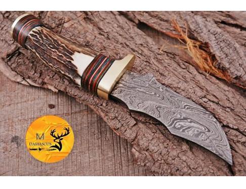 DAMASCUS STEEL SKINNER HUNTING KNIFE - AJ 1113