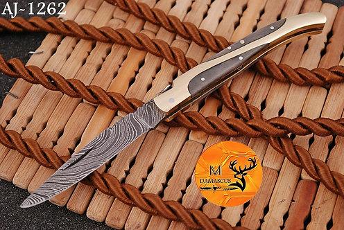 DAMASCUS STEEL FOLDING POCKET KNIFE- AJ 1262