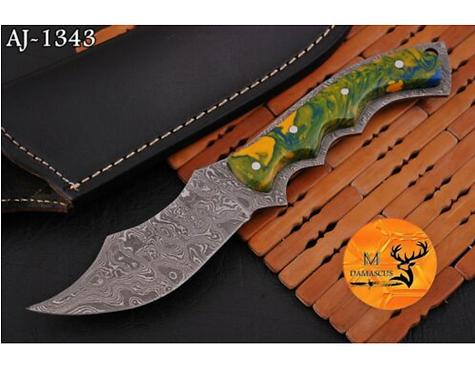 DAMASCUS STEEL SKINNER HUNTING KNIFE - AJ 1343