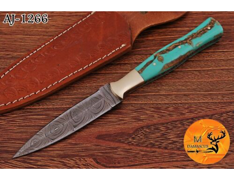 DAMASCUS STEEL THROWING BOOT DAGGER KNIFE - AJ 1266