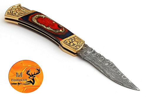 DAMASCUS STEEL FOLDING POCKET KNIFE- AJ 672