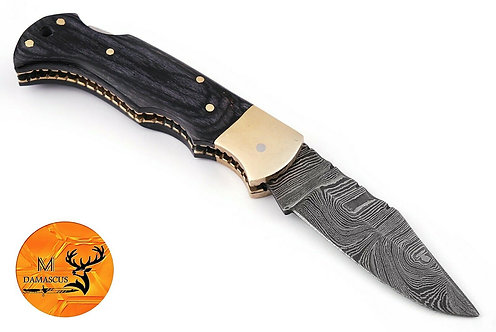 DAMASCUS STEEL FOLDING POCKET KNIFE- AJ 1330