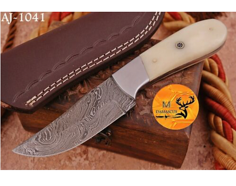 DAMASCUS STEEL SKINNER HUNTING KNIFE - AJ 1041