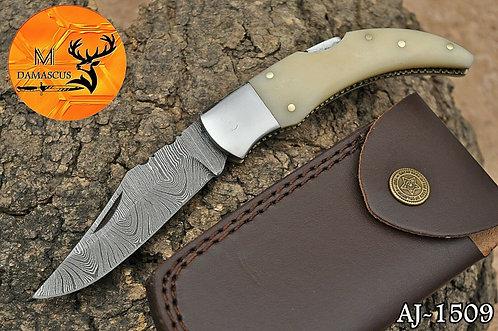 DAMASCUS STEEL FOLDING POCKET KNIFE- AJ 1509