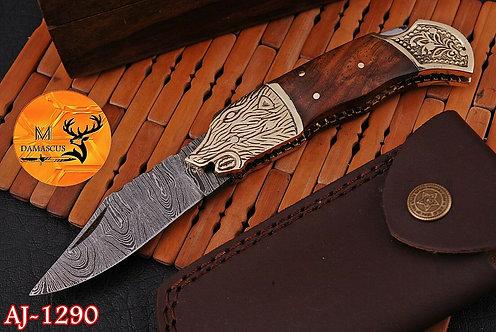 DAMASCUS STEEL FOLDING POCKET KNIFE- AJ 1290