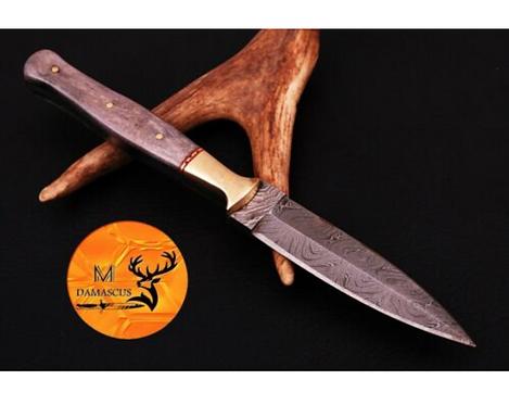 DAMASCUS STEEL THROWING BOOT DAGGER KNIFE - AJ 676