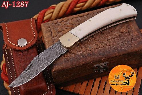 DAMASCUS STEEL FOLDING POCKET KNIFE- AJ 1287