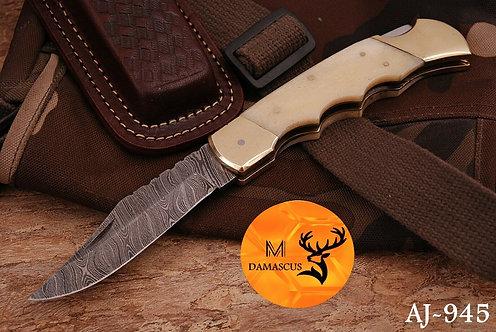 DAMASCUS STEEL FOLDING POCKET KNIFE- AJ 945
