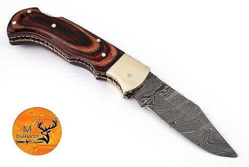 DAMASCUS STEEL FOLDING POCKET KNIFE- AJ 1327
