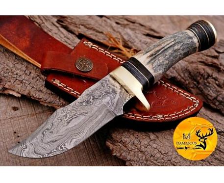 DAMASCUS STEEL SKINNER HUNTING KNIFE - AJ 1114