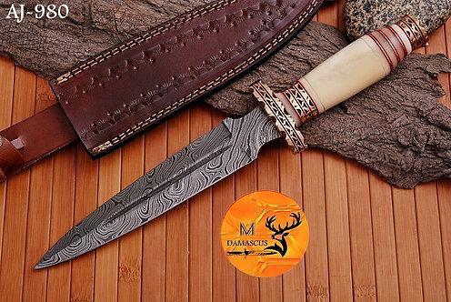 DAMASCUS STEEL BOOT DAGGER KNIFE  AJ 980