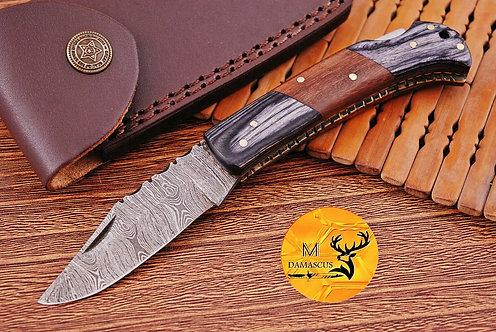 DAMASCUS STEEL FOLDING POCKET KNIFE- AJ 1104