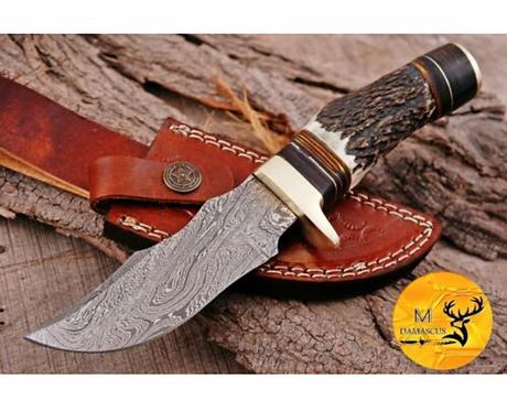 DAMASCUS STEEL SKINNER HUNTING KNIFE - AJ 1115