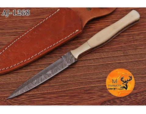 DAMASCUS STEEL THROWING BOOT DAGGER KNIFE - AJ 1268