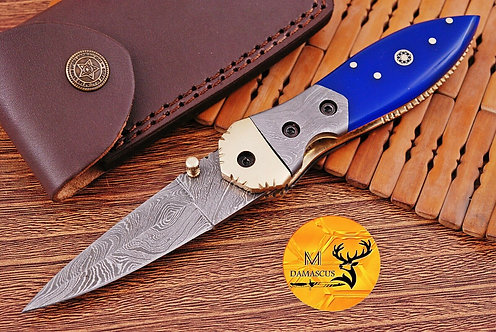 DAMASCUS STEEL FOLDING POCKET KNIFE- AJ 1100