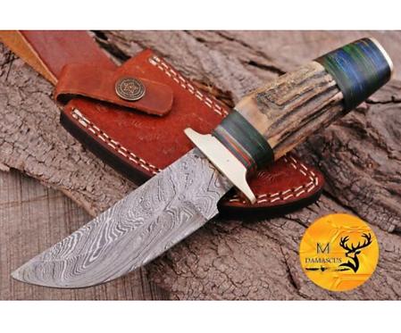 DAMASCUS STEEL SKINNER HUNTING KNIFE - AJ 1108
