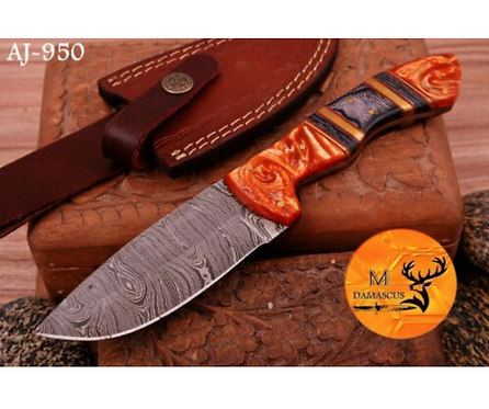 DAMASCUS STEEL SKINNER HUNTING KNIFE - AJ 950