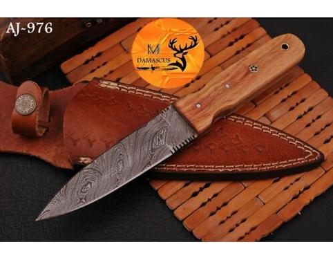 DAMASCUS STEEL THROWING BOOT DAGGER KNIFE - AJ 976