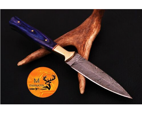 DAMASCUS STEEL THROWING BOOT DAGGER KNIFE - AJ 677