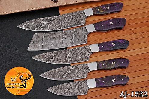 DAMASCUS STEEL CHEF KITCHEN KNIFE SET- AJ 1522