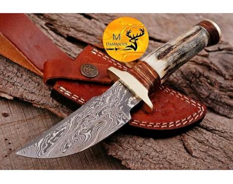 DAMASCUS STEEL SKINNER HUNTING KNIFE - AJ 1116