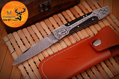 DAMASCUS STEEL FOLDING POCKET KNIFE- AJ 734
