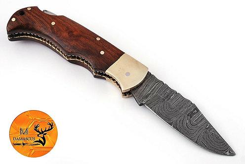 DAMASCUS STEEL FOLDING POCKET KNIFE- AJ 1331