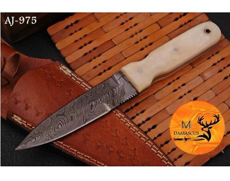 DAMASCUS STEEL THROWING BOOT DAGGER KNIFE - AJ 975