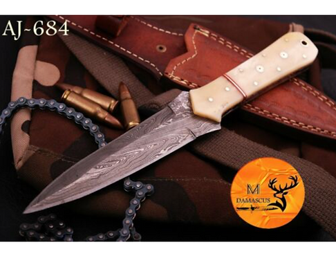 DAMASCUS STEEL THROWING BOOT DAGGER KNIFE - AJ 684