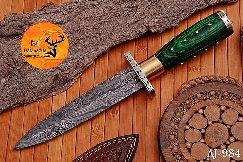 DAMASCUS STEEL BOOT DAGGER KNIFE  AJ 984
