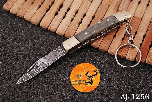 DAMASCUS KEY CHAIN FOLDING KNIFE- AJ 1256