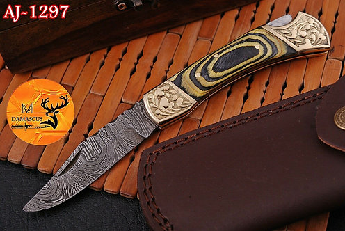 DAMASCUS STEEL FOLDING POCKET KNIFE- AJ 1297