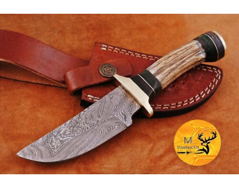 DAMASCUS STEEL SKINNER HUNTING KNIFE - AJ 1128