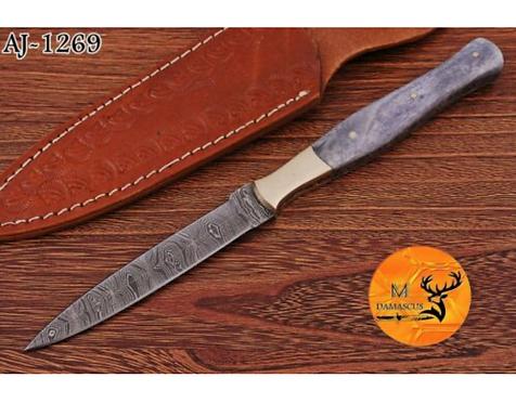 DAMASCUS STEEL THROWING BOOT DAGGER KNIFE - AJ 1269