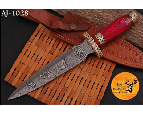DAMASCUS STEEL BOOT DAGGER KNIFE - AJ 1028