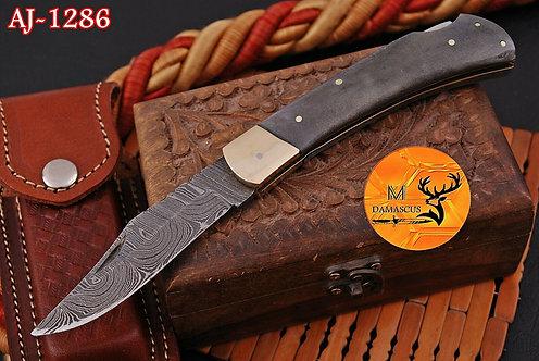 DAMASCUS STEEL FOLDING POCKET KNIFE- AJ 1286