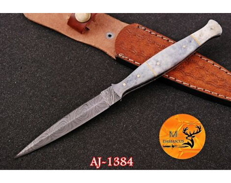 DAMASCUS STEEL THROWING BOOT DAGGER KNIFE - AJ 1384