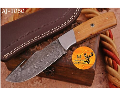 DAMASCUS STEEL SKINNER HUNTING KNIFE - AJ 1050