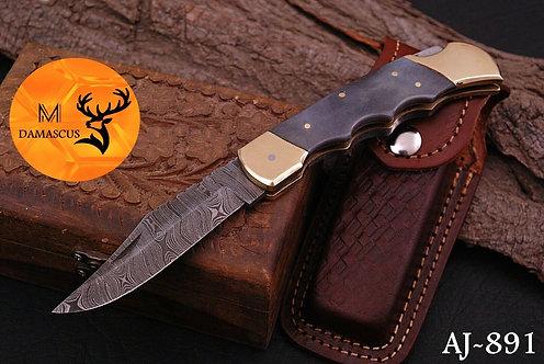 DAMASCUS STEEL FOLDING POCKET KNIFE- AJ 891
