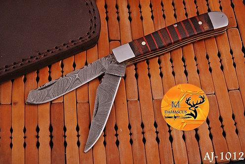 DAMASCUS STEEL FOLDING POCKET TRAPPER KNIFE- AJ 1012