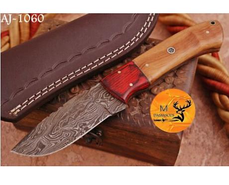 DAMASCUS STEEL SKINNER HUNTING KNIFE - AJ 1060