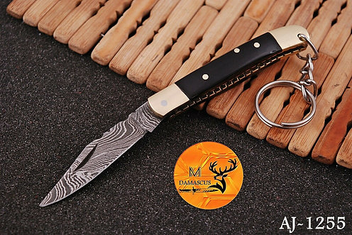 DAMASCUS KEY CHAIN FOLDING KNIFE- AJ 1255